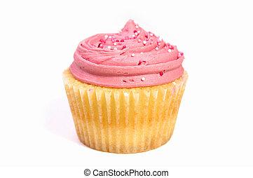 Cupcake isolated - Studio isolated creamy pink cupcake