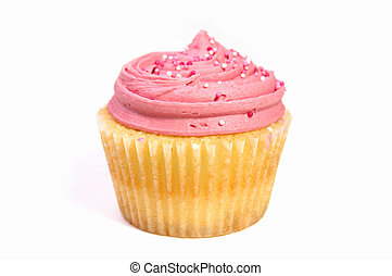 Cupcake isolated - Studio isolated creamy pink cupcake