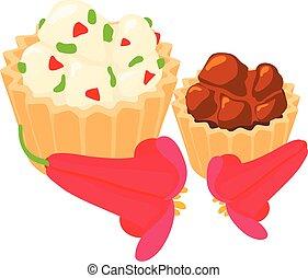 cupcake, isométrico, icono, estilo, tradicional