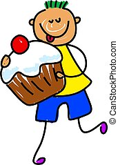 cupcake kid - little boy eating a iced chocolate bun -...