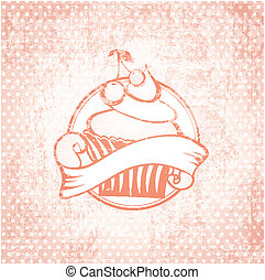 Cupcake Label - Cherry Cupcake Label Vintage Background...