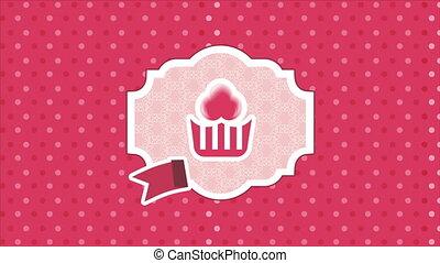 Cupcake label Video animation, HD 1080