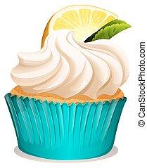 cupcake, limón, crema