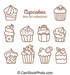 Cupcake line art collection