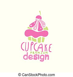 Cupcake logo design, emblem in pink colors for confectionery, candy shop or sweet store vector Illustration on a white background