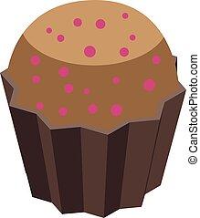 Cupcake mangosteen icon, isometric style
