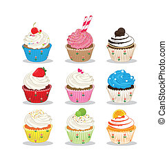 cupcake many flavour on white background