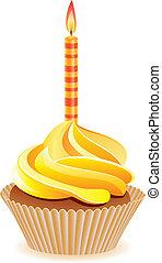 cupcake, met, burning, kaarsje