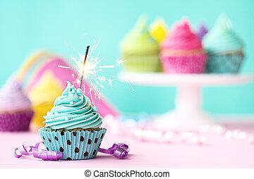 cupcake, mit, wunderkerze