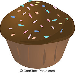 Chocolate with sprinkles cupcake muffin. cake illustration