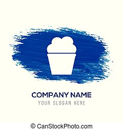Cupcake muffin icon  - Blue watercolor background