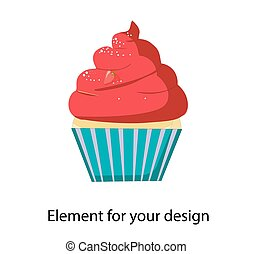 Cupcake, Muffin. Vector illustration isolated on a white background..