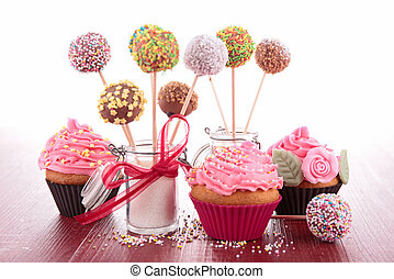 cupcake, och, tårta, pappor