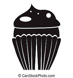 cupcake, odizolowany, ikona