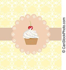 Cupcake on ornament background