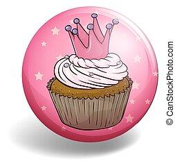 Cupcake on round badge