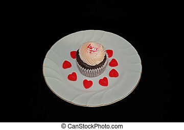 Cupcake on White Plate with Hearts