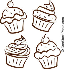 cupcake, pictogram, in, doodle, stijl