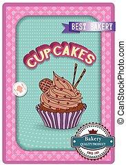Cupcake poster. Retro Vintage desig
