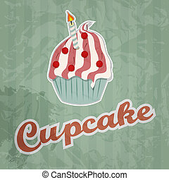 cupcake retro background. Vector illustration