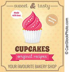 Cupcake retro poster - Sweet and tasty food dessert original...
