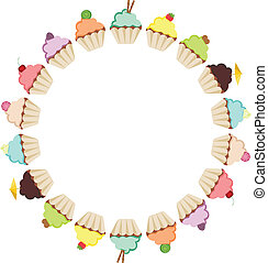 Cupcake Round Frame - Scalable vectorial image representing...