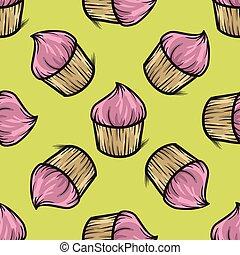 Cupcake seamless pattern vector hand drawn illustration