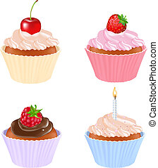 Cupcake Set - 4 Cupcake, Isolated On White Background,...