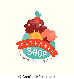 Cupcake shop logo design template, bakery and pastry label vector Illustration on a white background