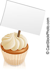 Cupcake sign - Illustration of a cupcake with a sign...