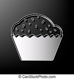 Cupcake sign. Vector. Gray 3d printed icon on black background.