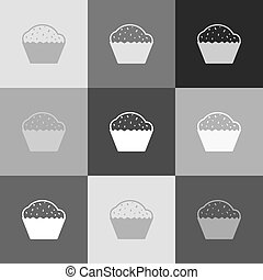 Cupcake sign. Vector. Grayscale version of Popart-style icon.