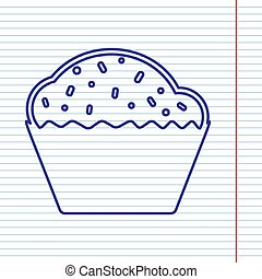 Cupcake sign. Vector. Navy line icon on notebook paper as background with red line for field.