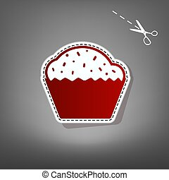 Cupcake sign. Vector. Red icon with for applique from paper with shadow on gray background with scissors.