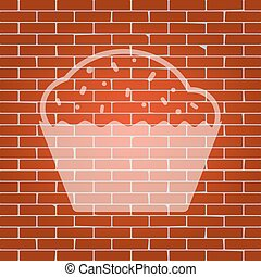 Cupcake sign. Vector. Whitish icon on brick wall as background.