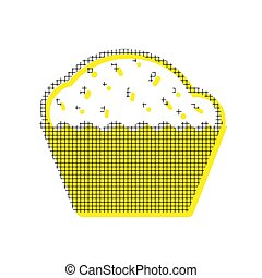 Cupcake sign. Vector. Yellow icon with square pattern duplicate