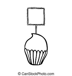 Cupcake sketch with frilly square - Cupcake decorated with...