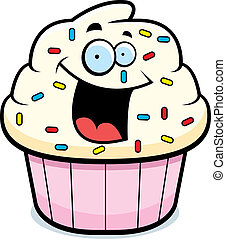 A cartoon frosted cupcake smiling and happy.