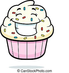 Cupcake Smiling - A cartoon cupcake with sprinkles smiling...