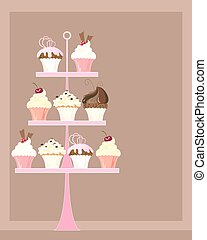 cupcake stand - an illustration of a pink cake stand with a ...