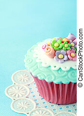 Cupcake - Sweet Cupcake with flower decoration in pink