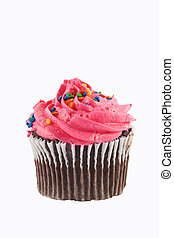 Cupcake - Chocolate cupcake with colored frosting and...