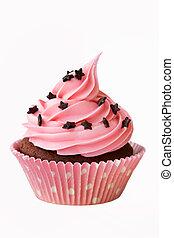 Cupcake - Pink cupcake decorated with chocolate stars
