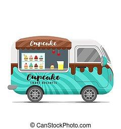 Cupcake street food vector caravan trailer