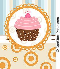cupcake, su, retro, fondo