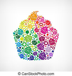 Cupcake Symbol With Gradient Mesh, Vector Illustration