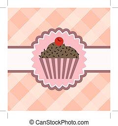 cupcake with chocolate on table cloth