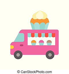 Cupcake truck vector, Food truck flat style icon
