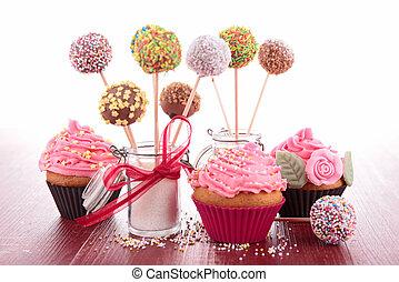 cupcake, und, kuchen, knallt