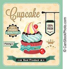 Cupcake vector banner.